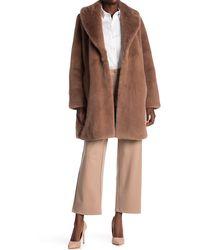 Donna Karan Faux Fur Long Shady Coat - Brown