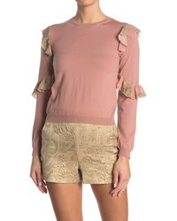 RED Valentino Ruffle Patterned Crew Neck Wool Sweater - Multicolor