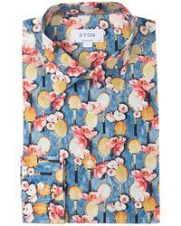 Eton of Sweden Men's Slim-fit Tennis-print Cotton Dress Shirt - Blue