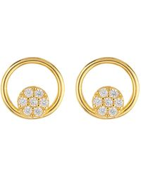 Argento Vivo - 18k Gold Plated Sterling Silver Open Circle Cz Pave Earrings - Lyst