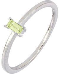 Bony Levy 18k White Gold Peridot Baguette Ring - Metallic