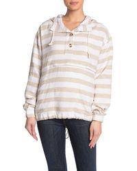Thread & Supply Tilda Striped Linen Blend Hoodie - White