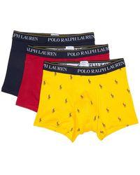 Polo Ralph Lauren Logo Cotton Trunks - Pack Of 3 - Yellow