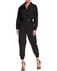 FAVLUX Windbreaker Snap Waist Belt Jumpsuit - Black
