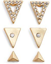 Treasure & Bond - Set Of 3 Triangle Stud Earrings - Lyst