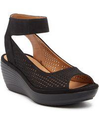 Clarks Reedly Salene Wedge Sandals - Black