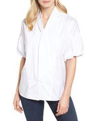 Halogen - Tie Front Short Sleeve Blouse (petite) - Lyst