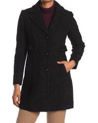 Gallery Notch Collar Boucle Coat - Black