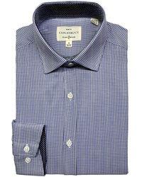 Con.struct 4-way Stretch Slim Fit Check Print Dress Shirt - Blue