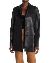 Nili Lotan Rose Leather Double Breasted Trench Coat - Black