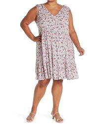 Caslon V-neck Print Tank Dress - Pink