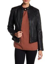 Cole Haan - Embossed Lambskin Leather Front Zip Jacket - Lyst