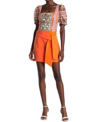 Alice + Olivia Riva Tie Mini Skirt - Orange