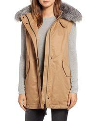 10 Crosby Derek Lam Genuine Fox Fur Trim Hooded Vest Parka - Natural