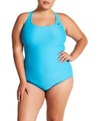 c05fc00168 Nike Swim Ribbed One-piece Swimsuit in Blue - Lyst