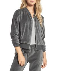 Zella - Street To Studio Velour Bomber Jacket - Lyst