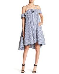 Gracia - Striped Cold-shoulder Ruffle Dress - Lyst