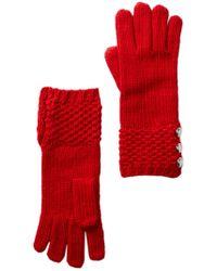 MICHAEL Michael Kors   Tuck Stitch Button Gloves   Lyst