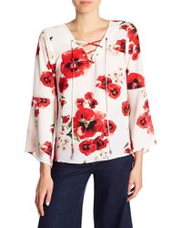 B Collection By Bobeau - Sybil Floral Lace-up Blouse - Lyst