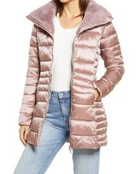 Save The Duck Faux Fur Collar Puffer Coat - Pink