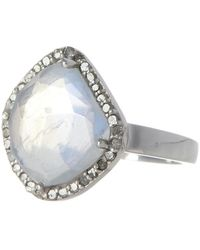 Adornia Moonstone & Diamond Rose Cut Halo Ring - 0.40 Ctw - White
