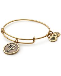 ALEX AND ANI - Initial 'p' Charm Expandable Wire Bracelet - Lyst