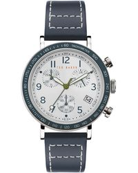 Ted Baker Marteni Chronograph Leather Strap Watch - Blue
