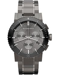 Burberry - Men's Gunmetal Ip Tone Stainless Steel Chronograph Watch - Lyst