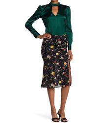 Veronica Beard Vanity Silk Blend Floral Print Midi Skirt - Black