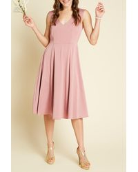 ModCloth Stretch Satin A-line Dress - Pink