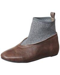 Antelope Sock Knit Leather Flat - Grey