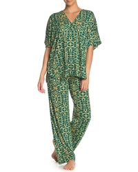 N Natori Short Sleeve Top & Lounge Pants Pajama 2-piece Set - Green