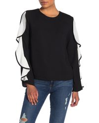 Endless Rose Cascading Ruffle Top - Black