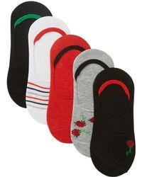 Steve Madden - Embroidered Rose Footie Socks - Pack Of 5 - Lyst