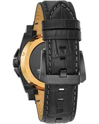 Bulova Men's Precisionist Croc Embossed Leather Strap Watch - Black