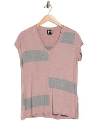 Heather by Bordeaux Wide Striped V-neck Shirt - Gray