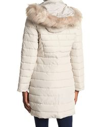 Kenneth Cole Faux Fur Trimmed Removable Hooded Satin Quilted Puffer Jacket - Natural