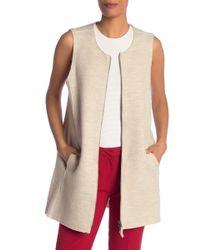 Eileen Fisher Wool Zip Up Vest - Natural