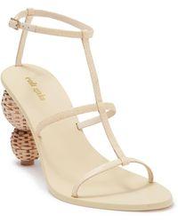 Cult Gaia Eden Basket Heel T-strap Sandal - Natural