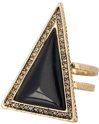 House of Harlow 1960 Pave Crystal Black Lapis Triangle Theorem Ring - Size 7