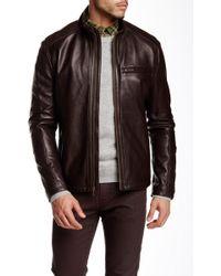 Cole Haan - Lamb Leather Zip Front Jacket - Lyst