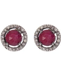Adornia Sterling Silver Echo Ruby & Champagne Diamond Halo Stud Earrings - Red