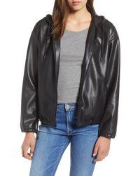Sam Edelman Faux Leather Zip Hoodie - Black