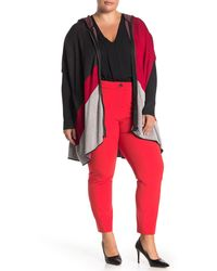Joseph A Colorblock Print Zip Poncho Sweater (plus Size) - Red