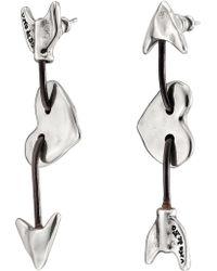 Uno De 50 - Iman & Bowine Arrow & Heart Stud Earrings - Lyst