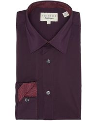 Ted Baker Solid Endurance Fit Shirt - Purple