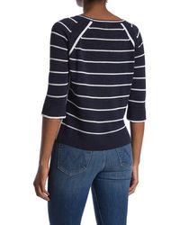 Kinross Cashmere Linen Knit Raglan Stripe Print Pullover Sweater - Blue