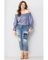 Slink Jeans Ripped & Patched Boyfriend Jeans - Blue