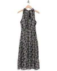 Sam Edelman Floral Print High Neck Maxi Dress - Black