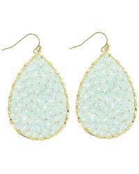 Panacea Crystal Beaded Teardrop Shape Drop Earrings - Blue